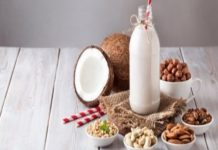 Vegan nut milk in the bottle